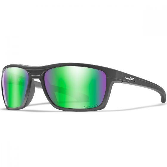 Wiley X WX Kingpin Glasses - Captivate Polarized Green Mirror Lens / Matte Graphite Frame