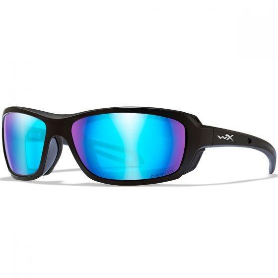 Wiley X WX Wave Glasses - Captivate Polarized Blue Mirror Lens / Matte Black Frame