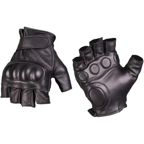 Mil-Tec Tactical Fingerless Leather Gloves Black