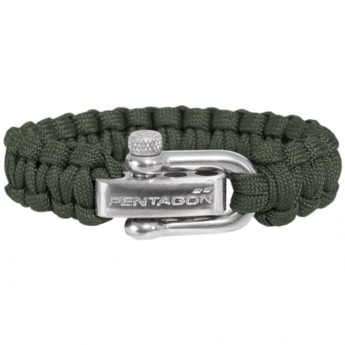 Pentagon Survival Bracelet Camo Green