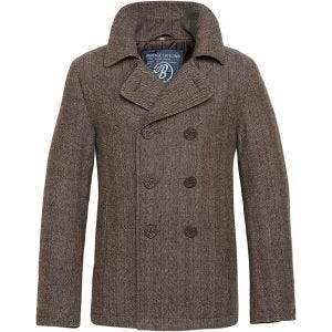 Brandit Pea Coat Brown Herringbone