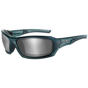 Wiley X WX Echo Glasses - Smoke Gray Silver Flash Lens / Smoke Steel Blue Frame