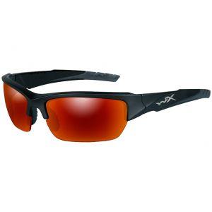 Wiley X WX Valor Glasses - Polarized Crimson Mirror Smoke Gray Lens / Black 2 Tone Frame