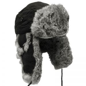 MFH Winter Cap Black with Gray Rabbit Fur