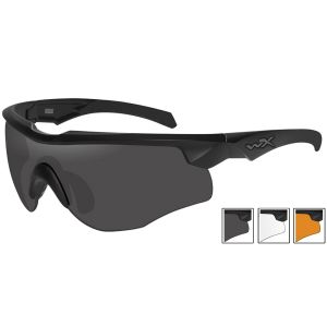 Wiley X WX Rogue Comm Glasses - Smoke Gray + Clear + Light Rust Lens / Matte Black Frame