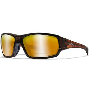 Wiley X WX Breach Glasses - Captivate Polarized Bronze Mirror Lens / Matte Hickory Brown Frame