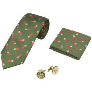 Jack Pyke Tie, Hanky and Cufflinks Gift Set Cartridge Green