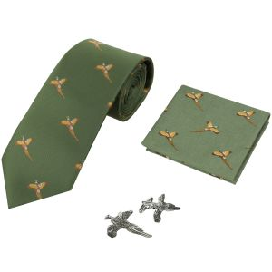 Jack Pyke Tie, Hanky and Cufflinks Gift Set Pheasant Green