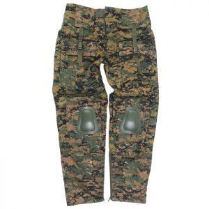 Mil-Tec Warrior Trousers with Knee Pads Digital Woodland